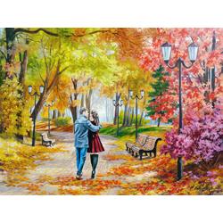 Самарская Елена | Осенний парк, скамейка, двое.