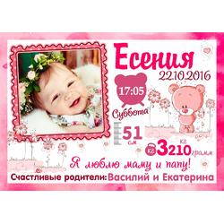 Постер-метрика для девочки №16 (с фотографией)