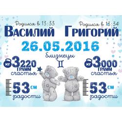 Постер-метрика для двоих детей №2