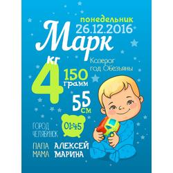 Постер-метрика для мальчика №23