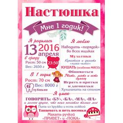 Постер достижений для девочки №3