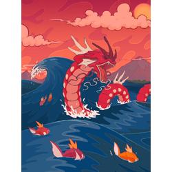 Dragon & waves (Модульные постеры) - 1 | Дракон и волны