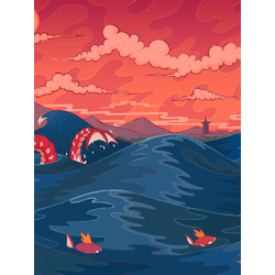 Dragon & waves (Модульные постеры) - 2 | Дракон и волны