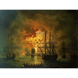 Jakob Hackert   Хаккерт Якоб - The Destruction of the Turkish Fleet at the Bay of Chesma, 1772