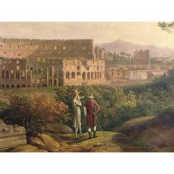 Jakob Hackert   Хаккерт Якоб - Johann Wolfgang von Goethe visiting the Colosseum in Rome, 1790
