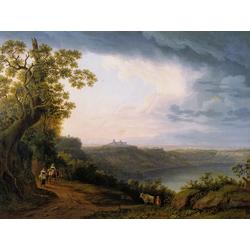 Jakob Hackert   Хаккерт Якоб - Blick auf den Albaner See mit Castel Gandolfo