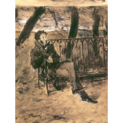 Серов Валентин Александрович - Александр Пушкин в парке, 1899