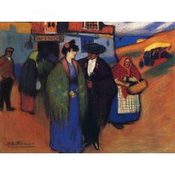 Pablo Picasso | Пабло Пикассо - Испанская пара перед гостиницей