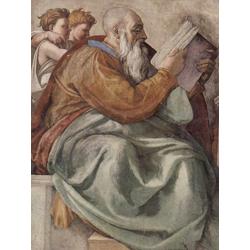Michelangelo | Микеланджело - Фрески плафона Сикстинской капеллы. История творения, сцена в люнете. Пророк Захария. Фрагмент