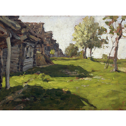 Isaac Levitan - Sunlit Day. A Small Village, 1898 | Левитан Исаак