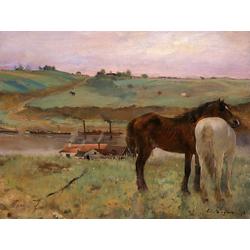 Edgar Degas | Дега Эдгар - Лошади на лугу