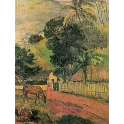 Paul Gauguin | Гоген Поль - Пейзаж. Лошадь на дороге