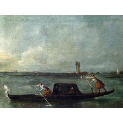 Francesco Guardi   Гварди Франческо - Гондола в лагуне рядом с Местре