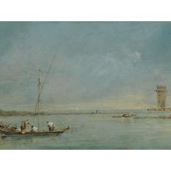 Francesco Guardi   Гварди Франческо - Вид на венецианскую лагуну и башню Мальгера