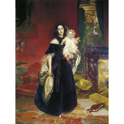 Karl Bryullov | Брюллов Карл - Портрет Марии Аркадьевны Бек с дочерью, 1840