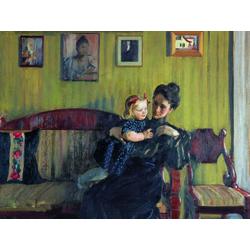 Кустодиев Борис Михайлович - Портрет Ю.Е.Кустодиевой с дочерью Ириной