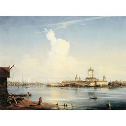 Боголюбов Алексей - Вид на Смольный монастырь с Большой Охты, 1851