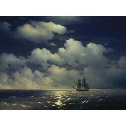 Aivazovsky Ivan   Айвазовский Иван - Бриг Меркурий после победы над двумя турецкими кораблями, 1848