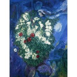 Chagall Marc | Шагал Марк | Букет с лилиями и летящие любовники