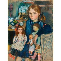 Serebryakova Zinaida | Серебрякова Зинаида | Дочка Катя с куклами