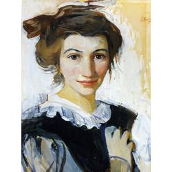 Serebryakova Zinaida | Серебрякова Зинаида | Автопортрет в черном платье с белым воротником