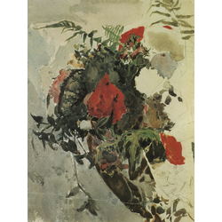 Врубель Михаил - Красные цветы и листья бегонии. Этюд