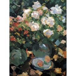 Коровин Константин Алексеевич | Розы в голубых кувшинах