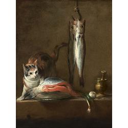Жан Батист Симеон Шарден | Натюрморт с кошкой на столе и рыбой