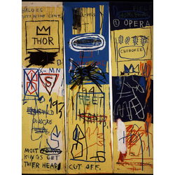 Basquiat J.M. | Баския Жан-Мишель | Charles the First Acrylique et Crayon gras sur toile triptyque