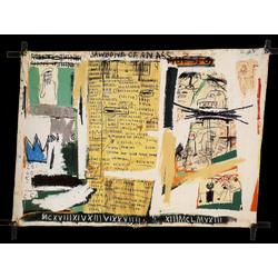 Basquiat J.M. | Баския Жан-Мишель | Jawbone of an Ass Sans Titre Crayon gras et papier coll sur toile monte sur chssis en croix