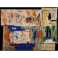 Basquiat J.M. | Баския Жан-Мишель | Piscine versus The Best Hotels ss Crayon gras et collage de photocopie sur toile quatre panneaux