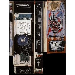Basquiat J.M. | Баския Жан-Мишель | Portrait of the Artist as a Young Derelict Acrylique huile encre et Crayon gras sur bois