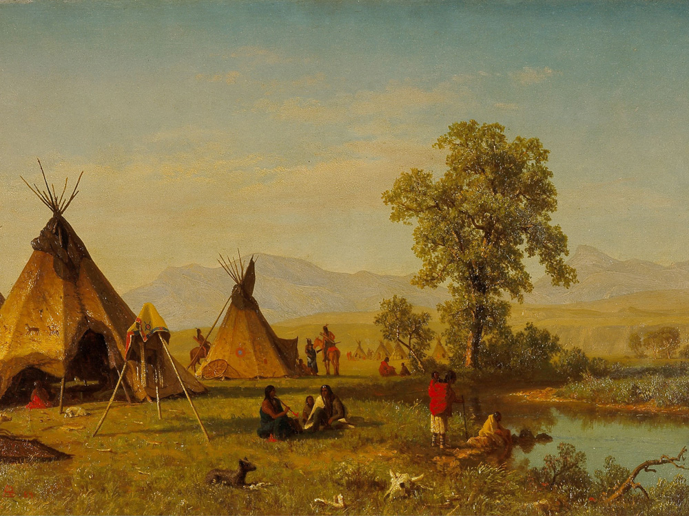 Albert Bierstadt | Альберт Бирштадт | Sioux Village near Fort Laramie