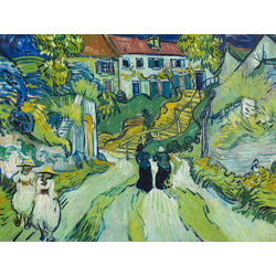Van Gogh | Ван Гог - Сельская улица с людьми и ступенями в Овере