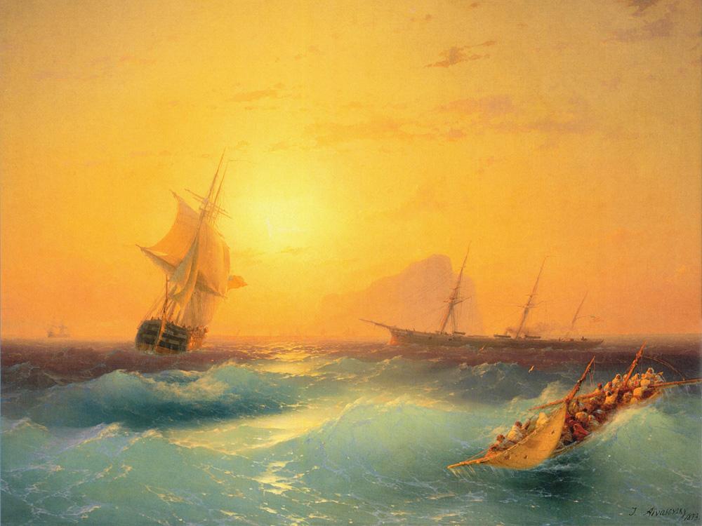 Aivazovsky Ivan | Айвазовский И. | Американские Суда у скалы Гибралтара