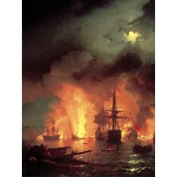 Aivazovsky Ivan | Айвазовский И. | Чесменская битва Ночью