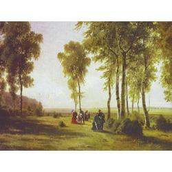 Shishkin Ivan | Шишкин Иван | Пейзаж с гуляющими